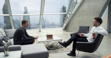 """MINORITY REPORT:  Dash (Stark Sands, L) talks with his brother Arthur (Nick Zano, R) in the all-new """"Mr. Nice Guy"""" episode of MINORITY REPORT airing Monday, Sept. 28 (9:00-10:00 PM ET/PT) on FOX. CR: Katie Yu / FOX. © 2015 FOX Broadcasting."""