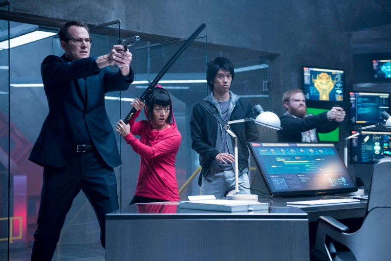 "HEROES REBORN -- ""Game Over"" Episode 106 -- Pictured: (l-r) Jack Coleman as Noah Bennet, Kiki Sukezane as Miko Otomo, Toru Uchikado as Ren Shimosawa, Henry Zebrowski as Quentin Frady -- (Photo by: Christos Kalohoridis/NBC)"