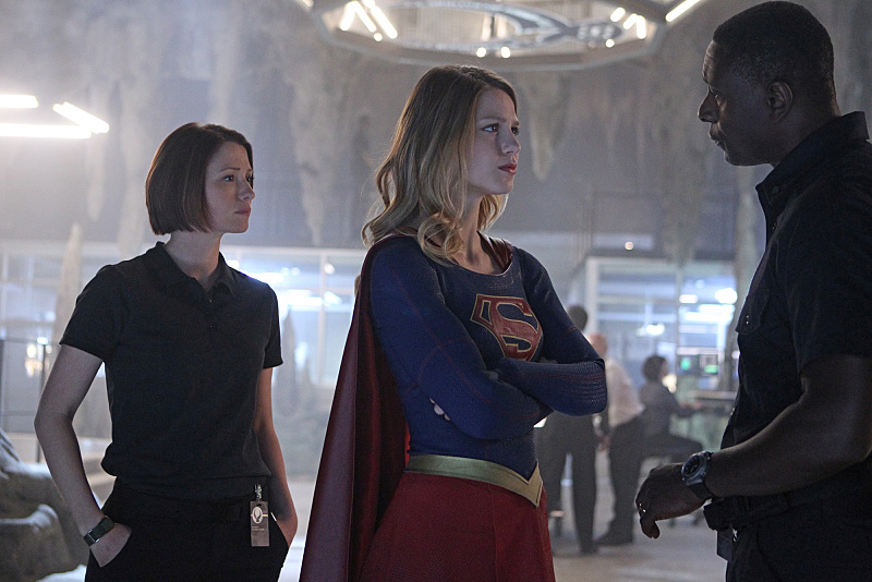 """Pilot"" -- After 12 years of keeping her powers a secret on Earth, Kara Zor-El, (Melissa Benoist, center) Superman's cousin, decides to finally embrace her superhuman abilities and be the hero she was always meant to be, on the series premiere of SUPERGIRL, Monday, Oct. 26 (8:30-9:30 PM, ET/PT), on the CBS Television Network. The series moves to its regular time period (8:00-9:00 PM) on Monday, Nov. 2. Also pictured: Chyler Leigh as Alex Danvers (left) and David Harewood as Hank Henshaw Photo: Sonja Flemming/CBS ©2015 CBS Broadcasting, Inc. All Rights Reserved"