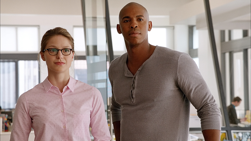 """""""Pilot"""" -- After 12 years of keeping her powers a secret on Earth, Kara Zor-El, (Melissa Benoist, left) Superman's cousin, decides to finally embrace her superhuman abilities and be the hero she was always meant to be, on the series premiere of SUPERGIRL, Monday, Oct. 26 (8:30-9:30 PM, ET/PT), on the CBS Television Network. The series moves to its regular time period (8:00-9:00 PM) on Monday, Nov. 2. Also pictured: Mehcad Brooks (right) as James Olsen Framegrab: © 2014 WBEI. All rights reserved."""