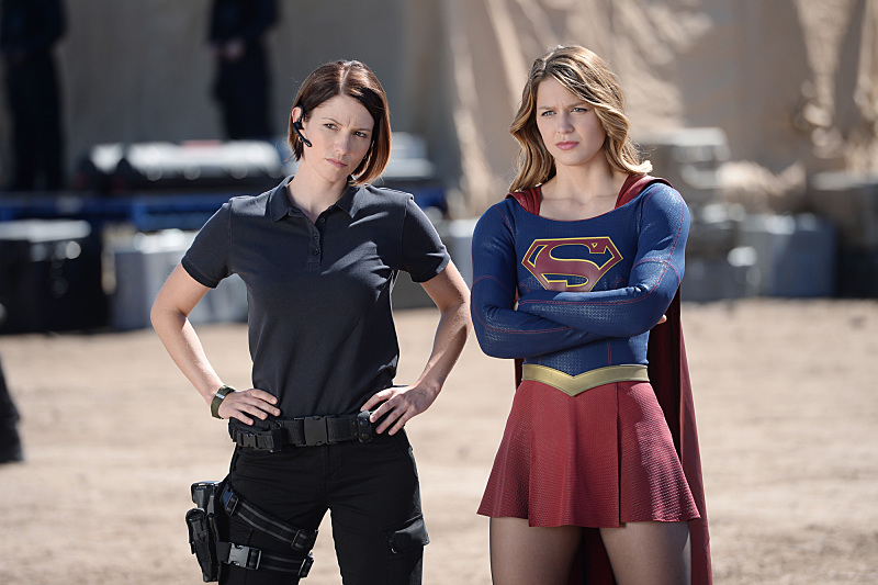 """Red Faced"" -- Personal and professional stress get the better of Kara when she goes too far during a training exercise against Red Tornado, a military cyborg commissioned by Lucy Lane's father, General Sam Lane, on SUPERGIRL, Monday, Nov. 30 (8:00-9:00 PM, ET) on the CBS Television Network. Pictured left to right: Chyler Leigh and Melissa Benoist Photo: Darren Michaels/CBS ©2015 CBS Broadcasting, Inc. All Rights Reserved"