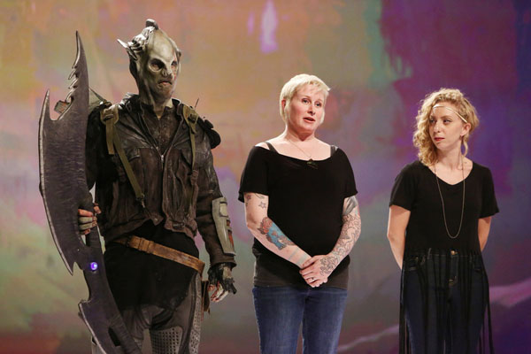 """FACE OFF -- """"Wanted Dead or Alive"""" Episode 1001 -- Pictured: (l-r) Melissa Ebbe, Anna Cali -- (Photo by: Jordin Althaus/Syfy)"""