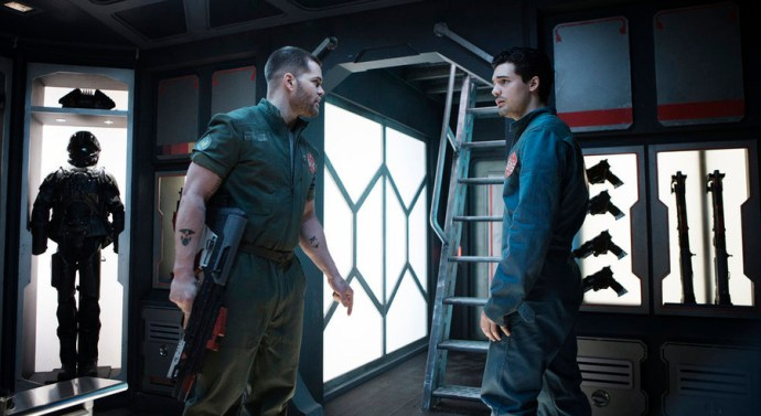 "THE EXPANSE -- ""Windmills"" Episode 107 -- Pictured: (l-r) Wes Chatham as Amos, Steven Strait as Earther James Holden -- (Photo by: Rafy/Syfy)"
