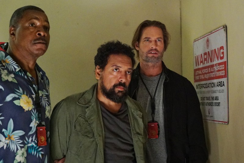 """COLONY -- """"Blindspot"""" Episode 104 -- Pictured: (l-r) Carl Weathers as Beau, Felix Solis as Luis, Josh Holloway as Will Bowman -- (Photo by: Danny Feld/USA Network)"""