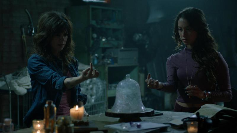 "THE MAGICIANS - ""Impractical Applications"" Episode 106 - Pictured: (l-r) Amy Pietz as Hannah, Stella Maeve as Julia - (Photo by Syfy)"
