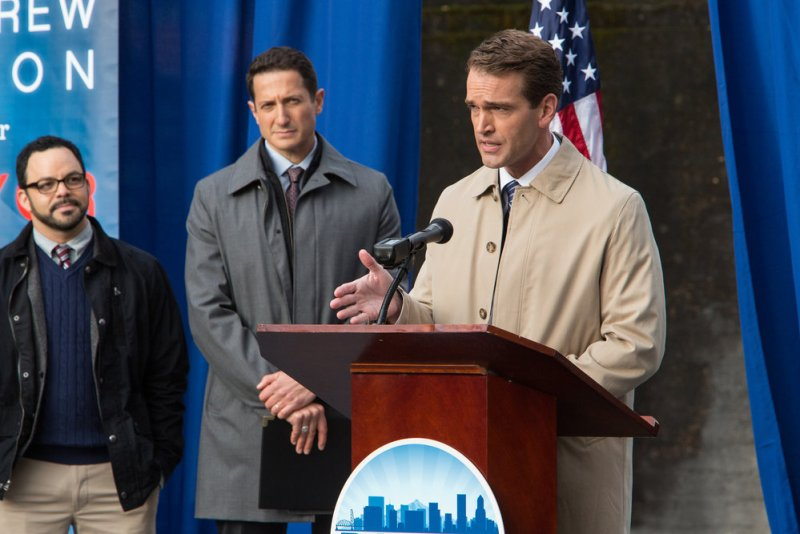 "GRIMM -- ""Key Move"" Episode 511 -- Pictured: (l-r) Sasha Roiz as Captain Renard, Michael Sheets as Andrew Dixon -- (Photo by: Scott Green/NBC)"