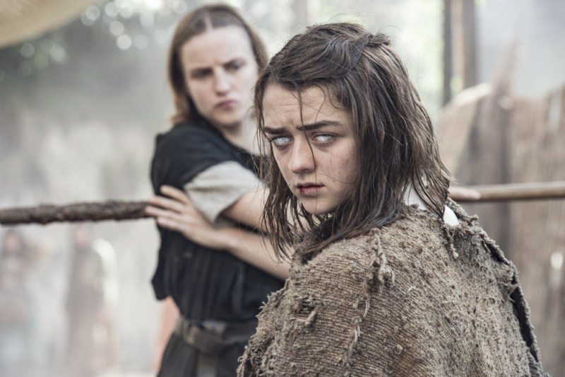 Pictured: Faye Marsay as The Waif and Maisie Williams as Arya Stark (Macall B. Polay/HBO)