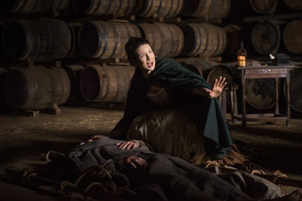 Claire (Caitriona Balfe) warning peolpe away from smallpox victims. Also, me whenever Frank talks in this episode. (Courtesy Starz)