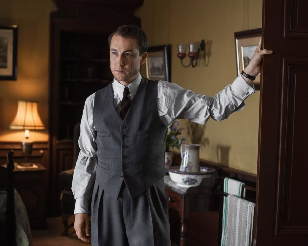 Pictured: Frank Randall (Tobias Menzies) knee deep in denial and high-waisted trousers.