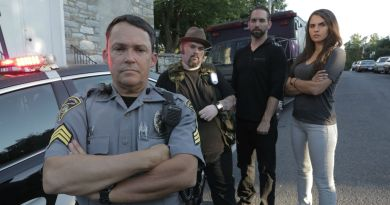 Shepherdstown Sheriff with investigators Bill Hartley, Nick Groff, and Elizabeth Saint.
