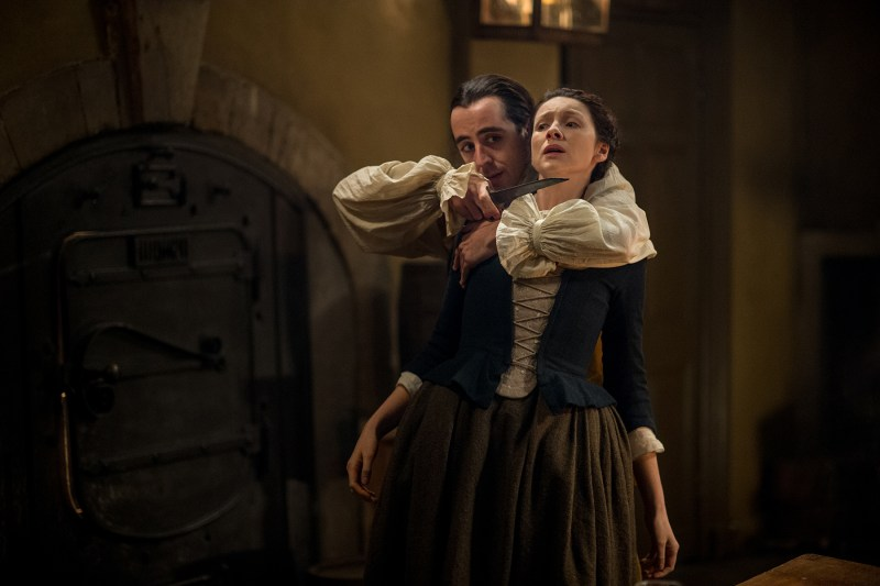 Yes, threaten his wife. I'm sure that will work out well for you. (Left, Andrea Dolenta as Danton. Right, Claire.)
