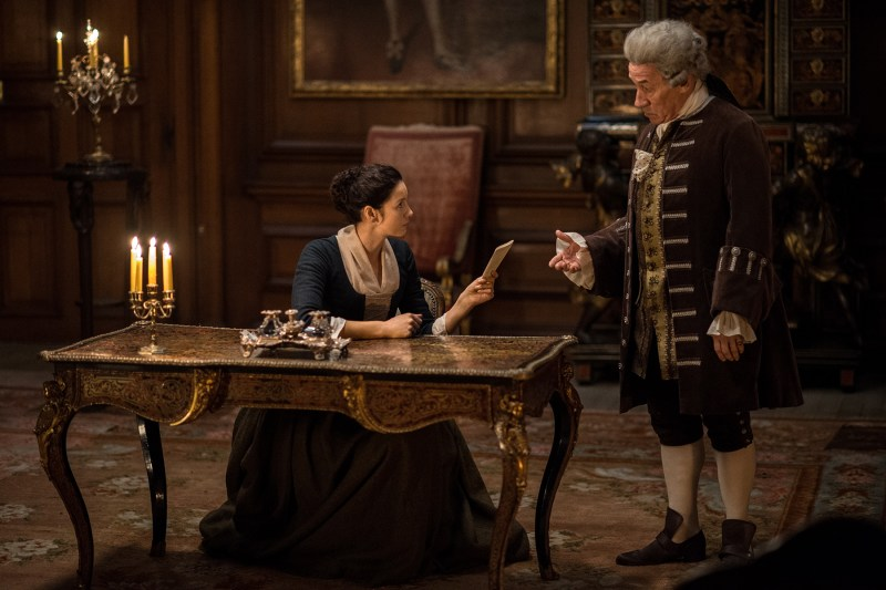 Claire: I farted on this. Enjoy holding my fart letter. (Right, Simon Callow as the Duke of Sandringham, holder of fart letters.)