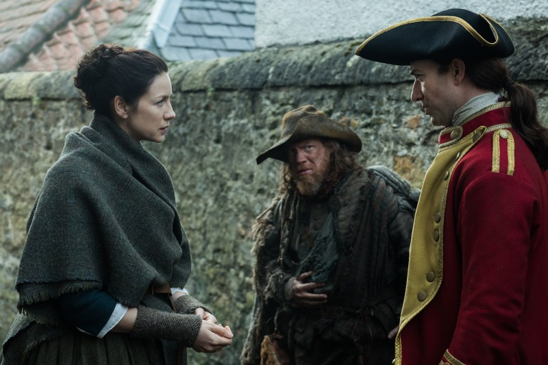 Left, Claire being sneakily communicative. Center, Hugh Munro (Simon Meacock) sneakily listening. Right, Lt Barnes (Robert Curtisas) being completely oblivious.
