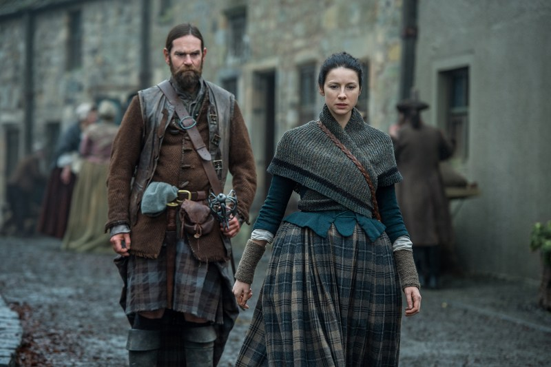 Ilu so much, Murtagh. (Left, Duncan Lacroix as Murtagh Fitzgibbons. Right, Claire being wrong about what Mary needs.)