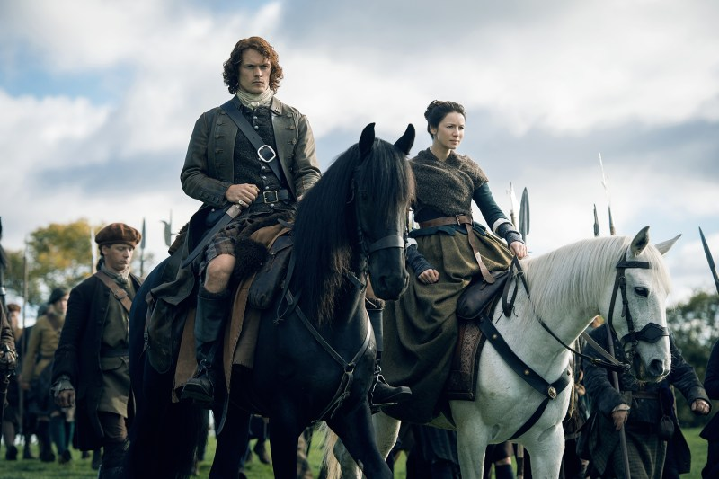(On left, Sam Heughan as Jamie Fraser. On right, Caitriona Balfe as Claire Fraser. Courtesy Starz.)
