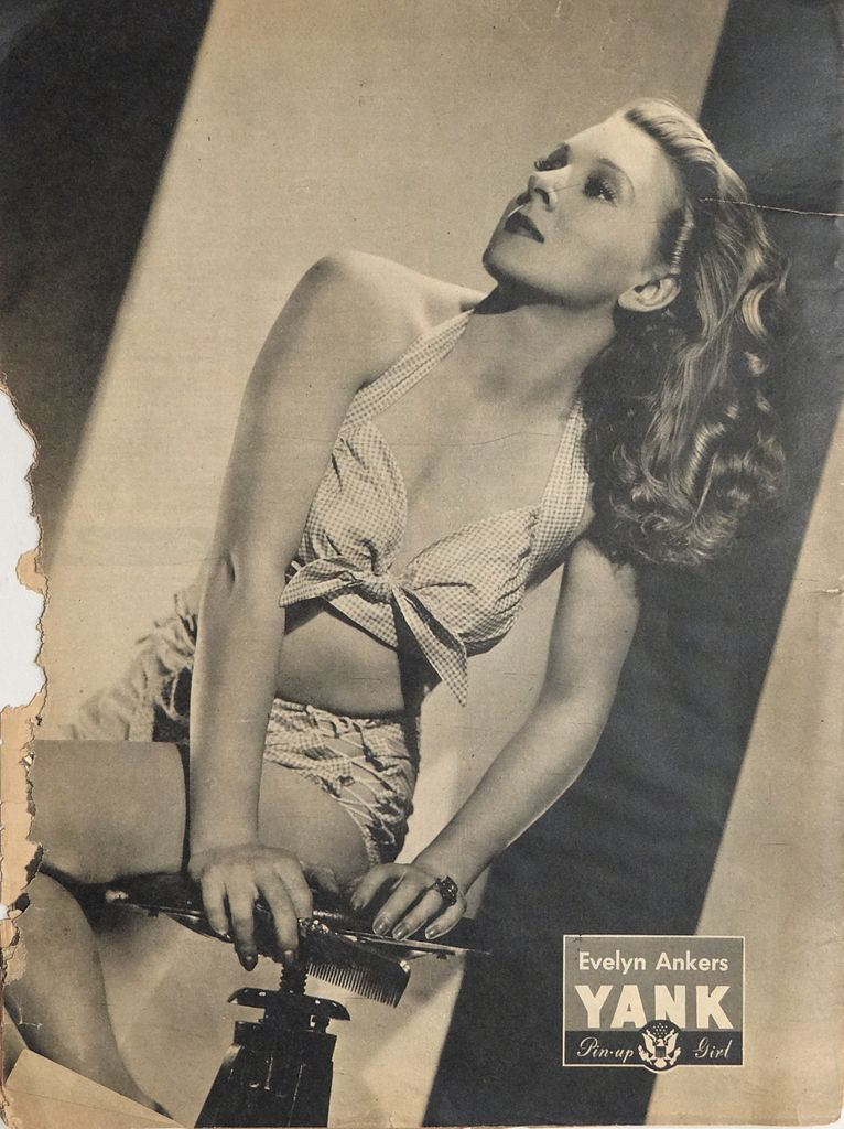 Actress Evelyn Ankers as a pin-up girl in 1945. You can practically hear the wolf whistles. (Pun very much intended.) [Courtesy Wikimedia Common.]