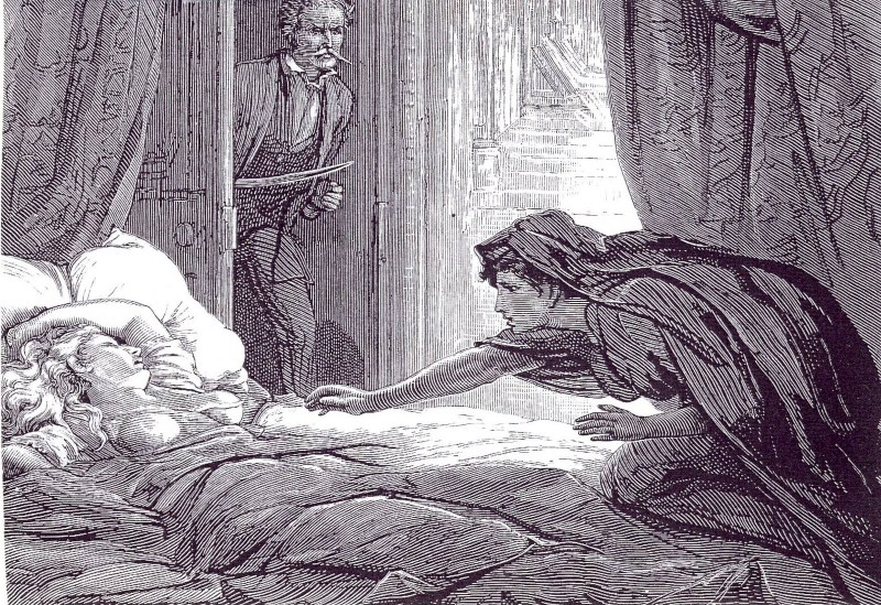 Illustration by D. H. Friston that accompanied the first publication of lesbian vampire novella Carmilla in The Dark Blue magazine in 1872