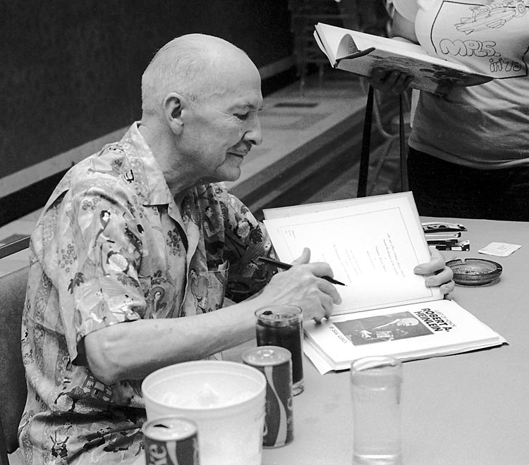 Robert A. Heinlein at the 1976 World Science Fiction Convention. Photo by Photo by Dd-b, courtesy Wikimedia Commons under a GNU Free Documentation License.
