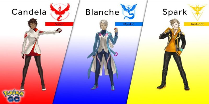 From left to right, we have the gym leaders for Valor, Mystic, and Instinct.
