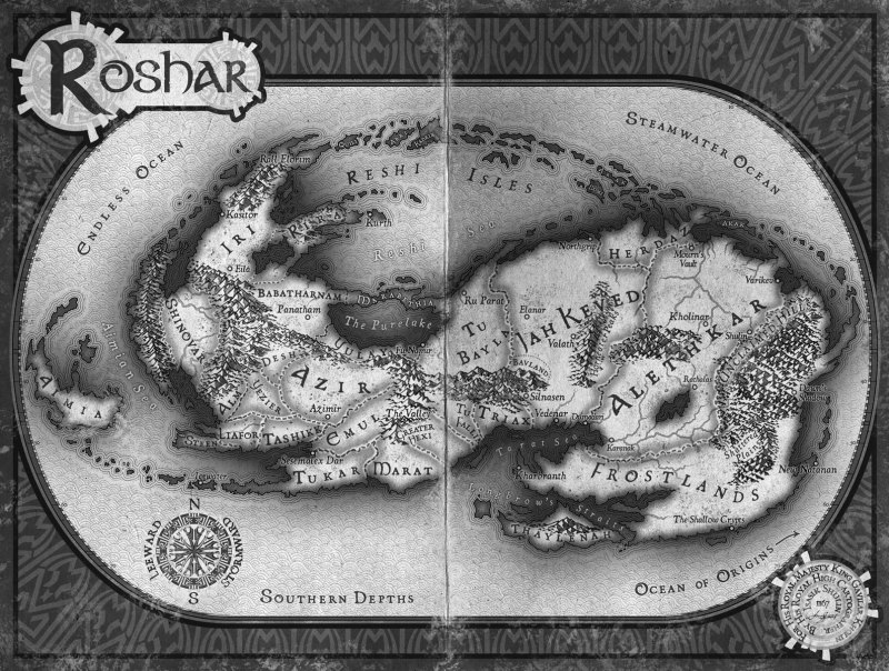 [map of Roshar, book artwork by Isaac Stewart]