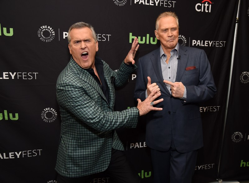 """Bruce Campbell and Lee Majors - father and son on """"Ash Vs. Evil Dead"""". (Photo by Michael Kovac/Getty Images for The Paley Center For Media)"""