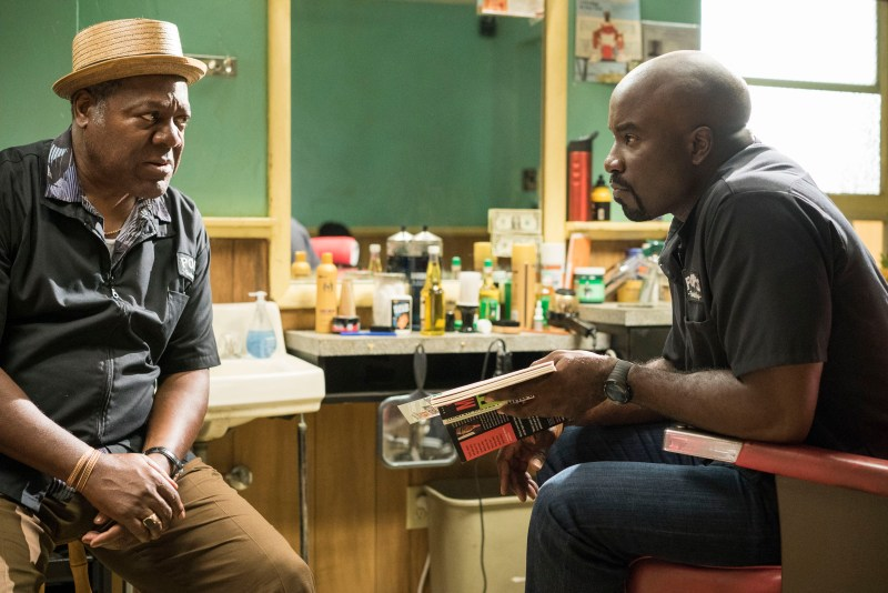 Pop (Frankie Faison) having a moment of truth with Luke (Mike Colter).