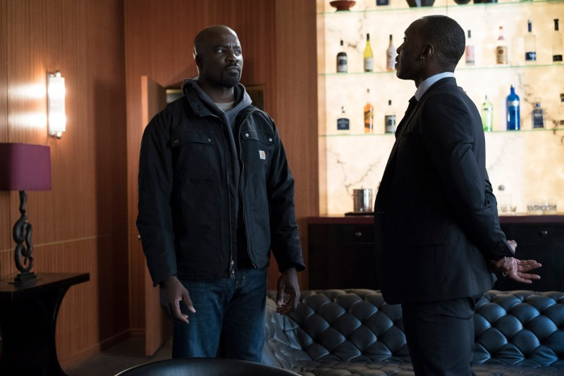 Luke Cage (Mike Colter) faces off against Cornell Stokes (Mahershala Ali).