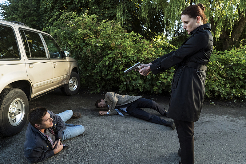"Supernatural -- ""Keep Calm and Carry On"" -- SN1201a_0145.jpg -- Pictured (L-R): Jensen Ackles as Dean, Misha Collins as Castiel and Bronagh Waugh as Ms. Watt -- Photo: Katie Yu/The CW -- © 2016 The CW Network, LLC. All Rights Reserved"