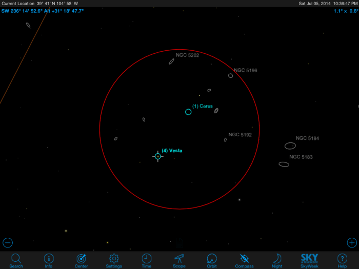 Ceres-Vesta Conjunction on July 5th.