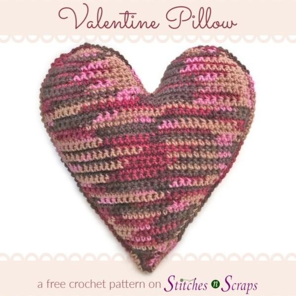 Valentine Pillow - a free crochet pattern on Stitches n Scraps