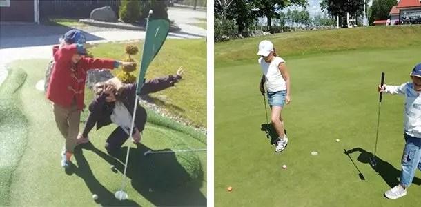 Svea y Pablo - Ninos jugando a golf en Kalmar