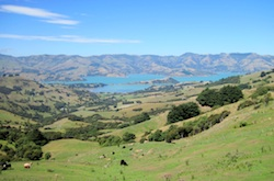First view of valley (crater) with Akaroa