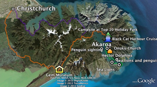 Map of our trip to Akaroa