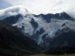 Mt Sefton and glacier view from Hermitage Hotel in New Zealand