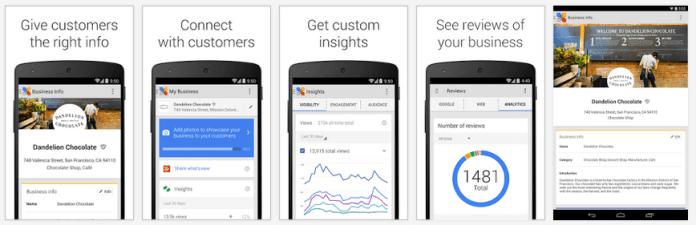 google my business app screenshots