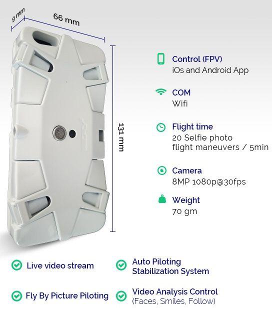 SELFLY Selfie Drone Case Spec Sheet