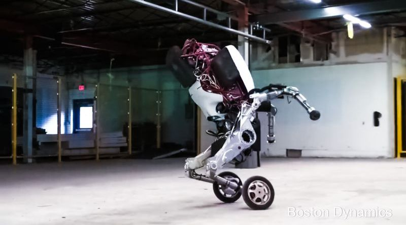 Handle is a research robot that stands 6.5 ft tall travels at 9 mph and jumps 4​ ​feet vertically