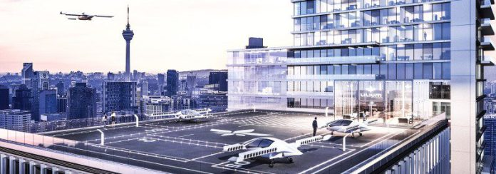 Lilium Landing Pad Rooftop Berlin Germany Skyscraper VTOL Silent Noise Taxi Flying Cab Automated