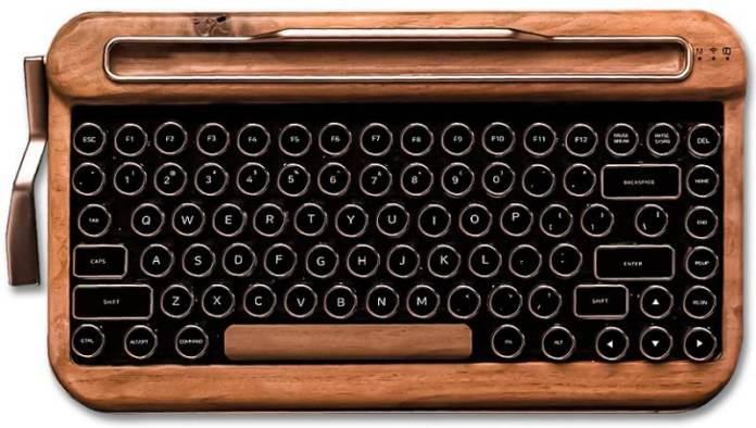 Natural Wood Elretron Penna Typewriter Wireless Author Writer Roadwarrior Design Modern