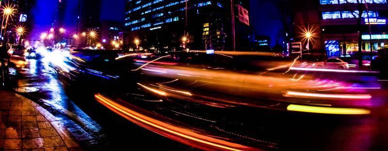 Smart City Seoul Future Urban Night Photography Dark Street Speed Blur Taxi Cab Cars Driving Korea