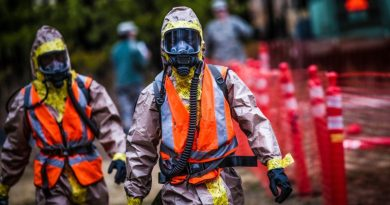 Disaster Management People Helping Special Hazard Suit Working Emergency Service Team Task Force Helpmet Visor Mask U.S. Army Soldiers from the New Jersey Army National Guard's 2-113th Infantry Regiment provide perimeter security during a full scale exercise involving over 600 Army and Air National Guardsmen from New York, New Jersey, and West Virginia at Joint Base McGuire-Dix-Lakehurst, N.J., April 17, 2015. (U.S. Air National Guard photo by Tech. Sgt. Matt Hecht/Released)