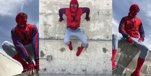 Spiderman Costume Goodwill Sony Contest Outside Wall Sitting