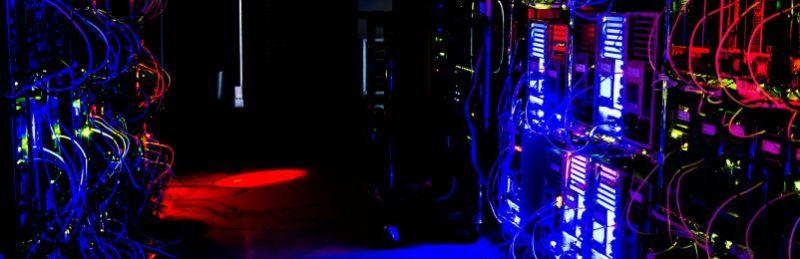 Server Room Secure Equipment Room SER MER IT Engineer Application Database Lights LED Dark Night Hacking Hacker Data Breach Risk Business Issues Pentesting
