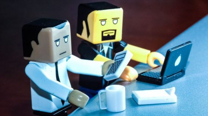 Business Men Lego Calculator Working Two Guys Office Laptop Competition Books Recommendation Rivals Marketing