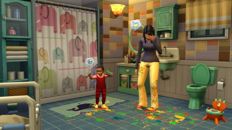 Sims 4 City Living Consoles Xbox PS4 Review Opinion Article New EA Maxis Will Wright kids Children toddler paint