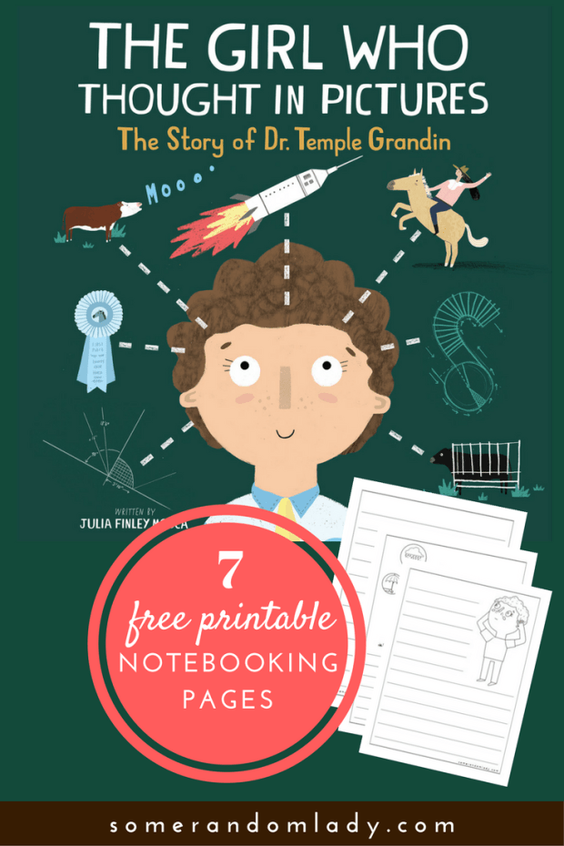 Temple Grandin Unit Study: Books, activities, and media for a unit on women in science or learning about autism. Appropriate for elementary aged children. Click through for resource list, a peek at the book, and free printable notebooking and coloring pages with clip art from the illustrator!