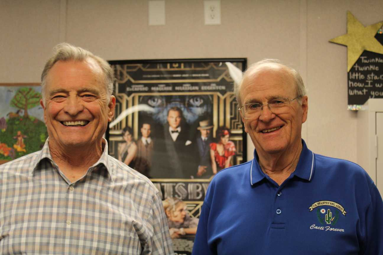 Colonel Tom McDonald III and Captain Jim Beddingfield came to Lambert on Tuesday to share their experiences during the Vietnam War.