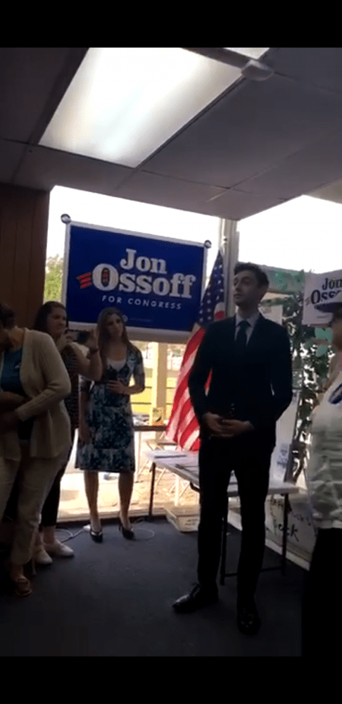 John+Ossoff+speaking+to+his+campaign+team.