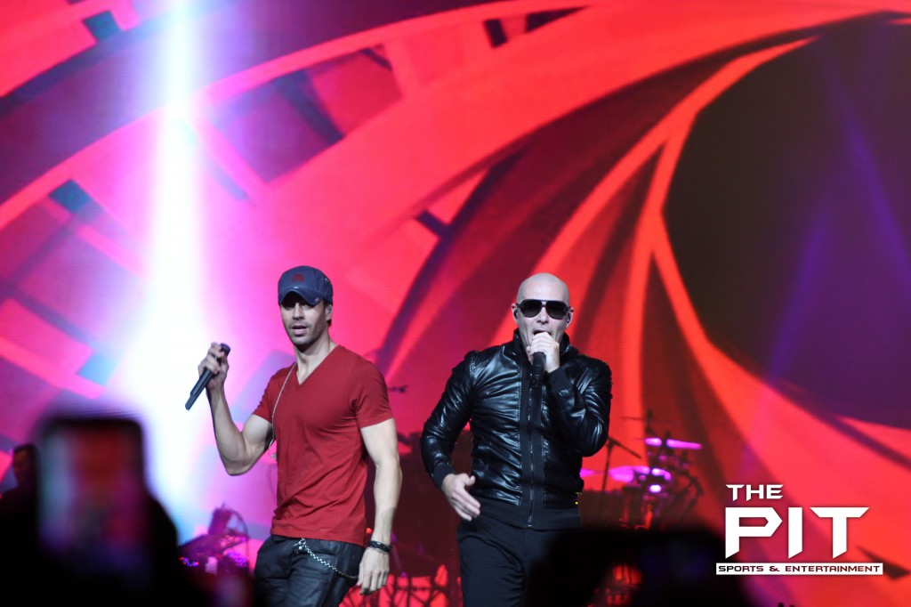 Enrique Iglesias and Pitbull brought a party to the Palace of Auburn Hills last night.