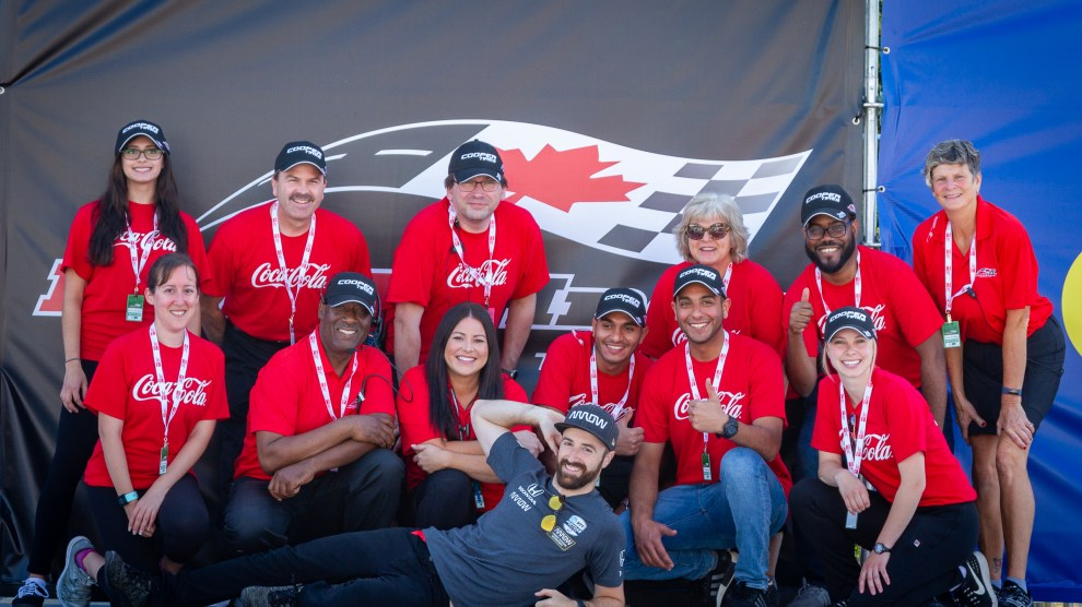 James Hinchcliffe and volunteers